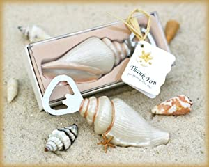 """Shore Memories"" Sea Shell Bottle Opener with Thank you Tag - Baby Shower Gifts & Wedding Favors (Set of 12)"