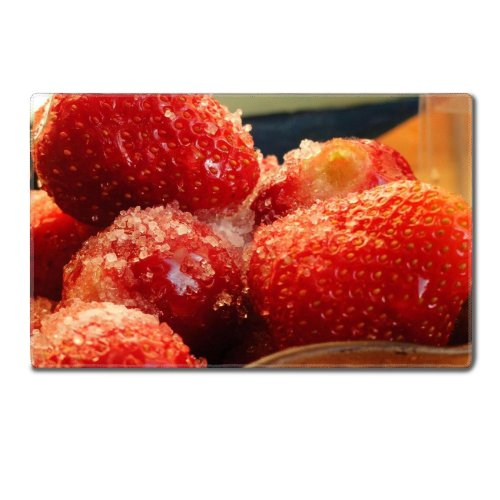 Frozen Strawberries Tasty Fruit Macro Table Mats Customized Made To Order Support Ready 24 Inch (610Mm) X 14 15/16 Inch (380Mm) X 1/8 Inch (4Mm) High Quality Eco Friendly Cloth With Neoprene Rubber Luxlady Small Deskmat Desktop Mousepad Laptop Mousepads C front-999118