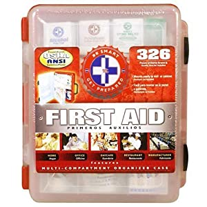 First Aid Kit With Hard Case- 326 pcs- First Aid Complete Care Kit - Exceeds OSHA & ANSI Guidelines - Ideal for the Workplace - Disaster Preparedness (Color Red)
