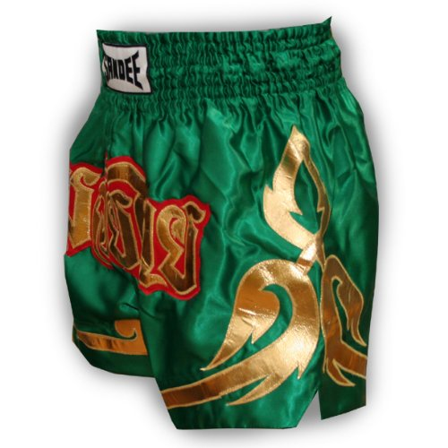 Sandee - Conquest Satin Thai Shorts - Green/Gold - Size M (For Boxing, MMA, UFC, Muay Thai)