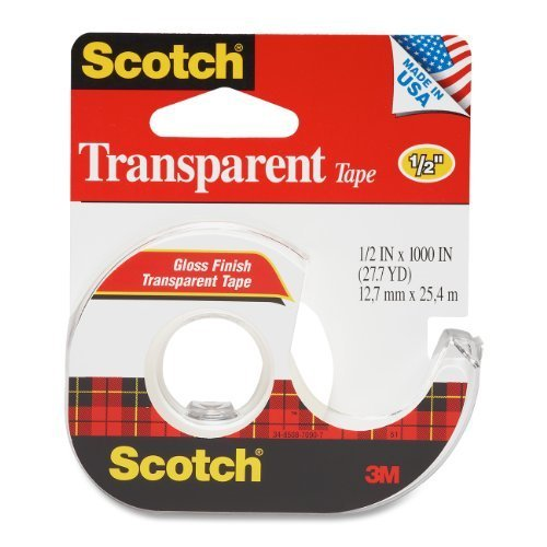 3M Transparent Tape with Dispenser, 1/2 Inch x 1000 Inches (174) by Scotch