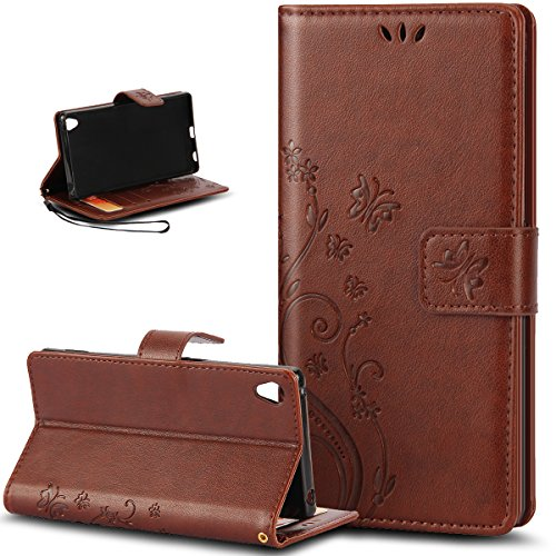 Sony Xperia Z5 Compact Case,NSSTAR Butterfly Flower Flip PU Leather Fold Wallet Pouch Case Premium Leather Wallet Flip Stand Credit Card ID Holders Case Cover for Sony Xperia Z5 Compact,Brown
