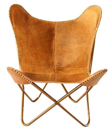 SKYCARTE Deluxe NuBuck Echt-Leder Butterfly Sessel / Schmetterling Stuhl (Farbton: Vintage-Braunbeige) online kaufen
