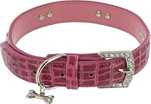 "Kakadu Pet Park Avenue Leather Rhinestone Dog Collar, 3/4"" x 17 1/2"", Pink"
