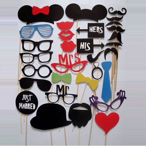 [ASSIS Photo Booth Props 31 piece DIY Kit for Wedding Party Reunions Birthdays Photobooth Dress-up Accessories & Party Favors, Costumes with Mustache on a stick, Hats, Glasses, Mouth, Bowler,] (Make Your Own Superhero Costume Kit)