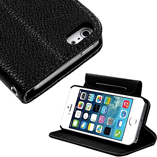 Mylife (Tm) Deep Black Luxury Design - Textured Koskin Faux Leather (Card And Id Holder + Magnetic Detachable Closing) Slim Wallet For Iphone 5/5S (5G) 5Th Generation Smartphone By Apple (External Rugged Synthetic Leather With Magnetic Clip + Internal Sec