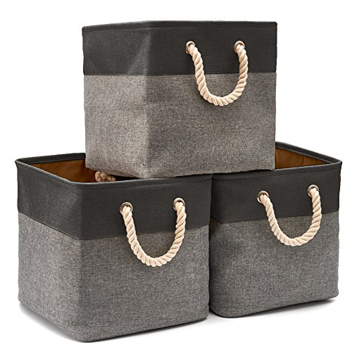 EZOWare Collapsible Storage Bin Cube Basket [3-Pack] Foldable Canvas Fabric Tweed Storage Bin Set with Handles for Home Office Closet (13 x 13 x 13 inches) (Black/Gray)