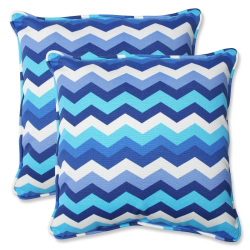 """Set of 2 Rayas Azules Blue and White Chevron Striped Outdoor Corded Square Throw Pillows 18.5"""""""
