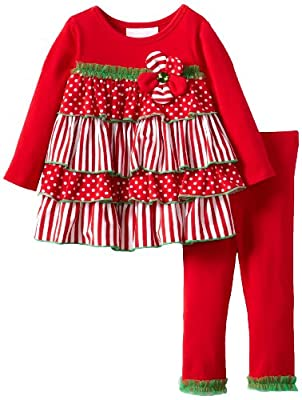Cute Baby Girls Christmas Tiered Ruffle Legging Set by Bonnie Baby