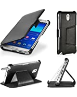 Etui Samsung Galaxy Note 3 N9000 N9002 N9005 (Wifi / LTE / 4G) noir 32/64 GB Ultra Slim Cuir Style avec stand - Housse flip cover coque de protection smartphone Galaxy Note 3 GT-N9000/N9002/N9005 noire - Prix découverte accessoires pochette XEPTIO : Exceptional case !