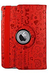 KolorFish iFun Cartoon Designer 360 Degree Rotating Leather Flip Stand Case Cover for iPad Air 2 - Red