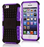 iPhone 5C Case, iPhone 5C Armor cases- box Dual Layer Hybrid Hard/Soft Protective Case With Screen Protector by Cable and Case - Purple Armor Case