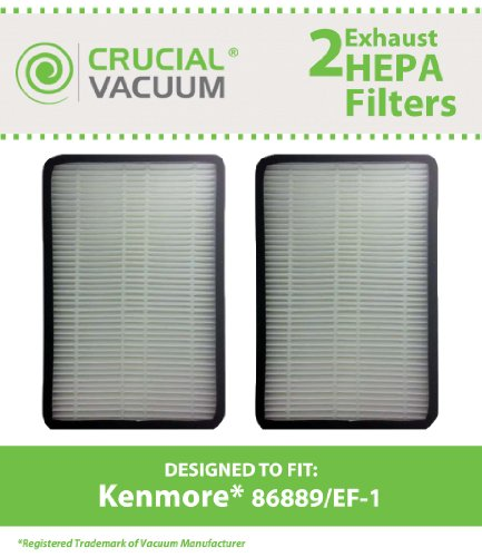 2 PK Kenmore 86889 EF-1 Exhaust HEPA Vacuum Filter; Compare to Sears Kenmore Part# 86889 (or 20-86889), 40324, EF1 & Panasonic Part # MC-V199H (MCV199H); Designed & Engineered by Crucial Vacuum (1 4 Hepa Filter compare prices)