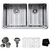 Kraus KHU103-33 33-Inch Undermount 70/30 Double Bowl 16 gauge Kitchen Sink, Stainless Steel