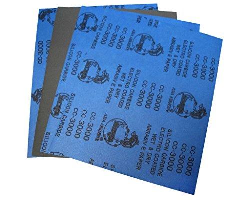 """Confezione da 6 fogli di carta abrasiva 22,86 cm (9"""") 27,94 (11 cm x cm, 230 x 280 mm, in carburo di silicio, 3000 grit, per lavorazioni a secco/ad"""