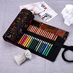 36 Pcs Pencil Roll Wrap Holder Colored Sketching Drawing Brush Paint Pen Case Tr