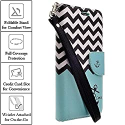 XYZ LG G4 Wallet Case (Verizon Sprint AT&T T-Mobile) LTE Slim Leather Wallet Pouch (TEAL ANCHOR CHEVRON)