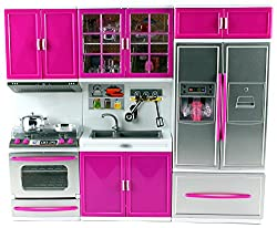 My Modern Kitchen Oven Sink Refrigerator Battery Operated Toy Doll Kitchen Playset w/ Lights, Sounds