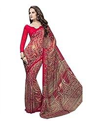 Suvastram Women Georgette Printed Red Saree