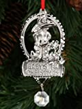 J Strait Designs 0007 Babys 1st Christmans Silver Pewter Ornament - Girl