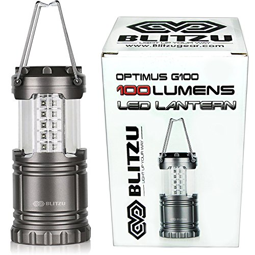 Ultra Bright LED Lantern – Blitzu Optimus G100 Camping Lantern – Collapsible – Suitable for Hiking, Camping, Emergencies, Hurricanes, Outages. 30 LEDs – Water Resistant – Platinum Gray.