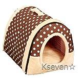 【ケーセブン】Kseven☆ ペットハウス 犬 猫 室内用 ふわふわ ドーム型 可愛い 折り畳み式 (M, ドット柄)