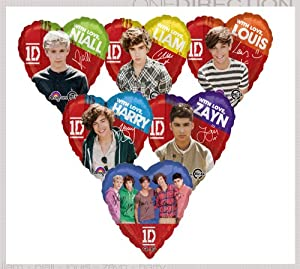 "One Direction Boy Band 17"" Assorted Members Heart Shaped Mylar Foil Balloon Set - Party Supplies from Anagram"