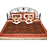 Brown And Ivory Seven Piece Banarasi Bedcover With Embroidered Bootis - Art Silk With Cushion Covers