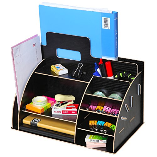 black wooden portable desktop office supply organizer storage caddy w