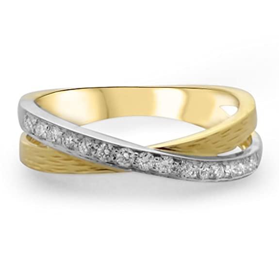 F/VVS 0.25carat Round Brilliant Cut Diamonds Cross-over Half Eternity Wedding Ring in 18K Yellow Gold