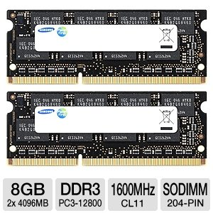 Samsung Electronics Extreme Low Voltage 30nm SODIMM 8 Dual Channel Kit DDR3 1600 (PC3 12800) 204-Pin DDR3 SO-DIMM MV-3T4G3D/US