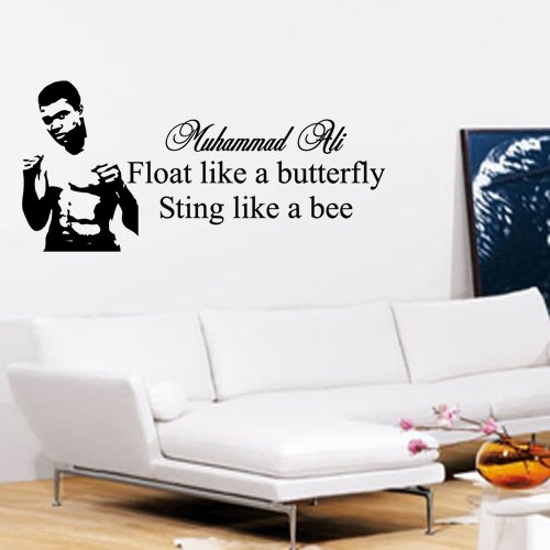 Muhammad Ali - Adesivo Parete Float Like A Butterfly Sting Like A Bee Black