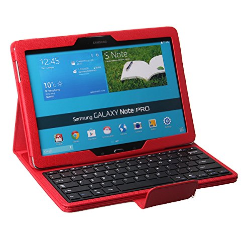 Xkttsueercrr Portable Pu Leather With Detachable Bluetooth Keyboard Cover Stand Case For Samsung Galaxy Tab Pro 12.2 Sm-T900/T905&Galaxy Note Pro 12.2 Sm-P9000(Galaxy Tab Pro 12.2&Note Pro 12.2 Black Red White Pink) (Red)