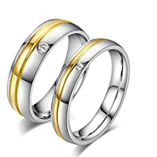buy Daesar Womens Wedding Bands Stainless Steel Ring For Couple Ring Silver Gold Ring Cz With Gift Box Size 7