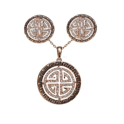 Fashion 18k Gold Plated Swarovski Crystal Round Stud Earring and Pendant Necklace Set S48
