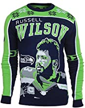 Forever Collectibles NFL Seattle Seahawks Wilson R. #3 2015 Player Ugly Sweater, Medium, Green