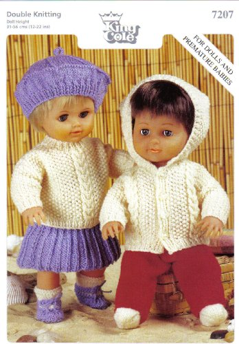 """King Cole Dolls Clothes and Premature Babies Outfits Knitting Pattern: Boy's Outfit Jacket, Socks, Trousers: Girls Outfit Sweater, Skirt, Beret (To fit doll 12""""-14"""" 15""""-18"""" 19""""-22"""" - 31cm-56cm)"""