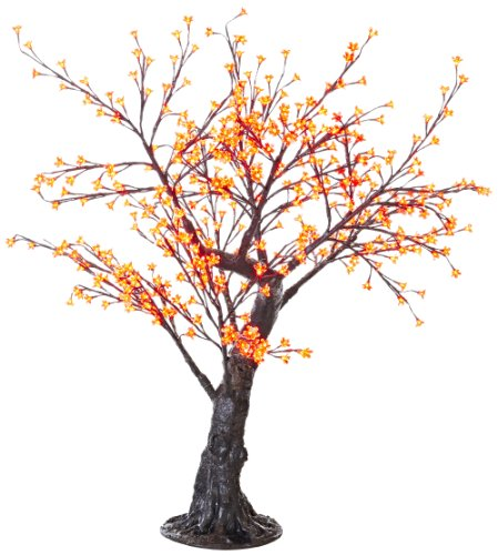 Arclite Nbl-B145-8 Bonsai Cherry Blossom Tree With Leaves, 5' Height, With Black Trunk, Red Crystals And Red Lights