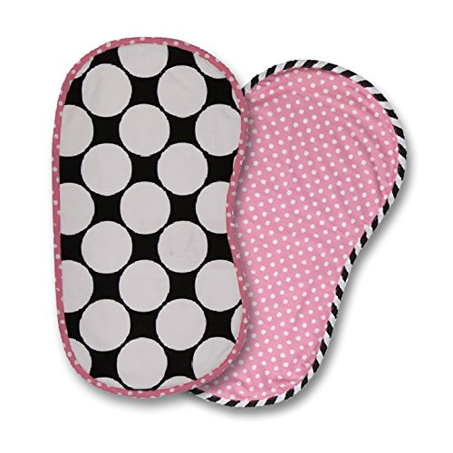 Bacati 2 Piece Dots/Pin Stripes with Pink Pin Dots Burpies Set, Black/White - 1