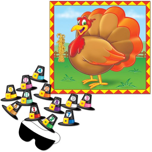 Pin The Hat Turkey Game (mask & 12 pilgrim hats included) Party Accessory  (1 count) (1/Pkg)