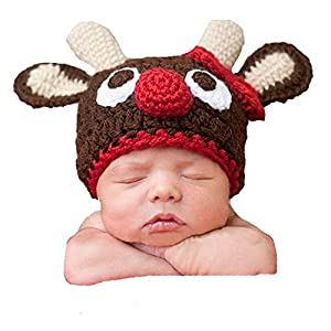 DAYAN Baby Christmas Deer Photographed Warm Winter Knit Crochet Hat Newborn Baby Photography Props