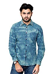 Rafters green and indigo blue check, full sleeves men's regular fit casual shirt