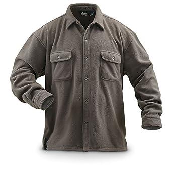 Guide Gear Fleece CPO Shirt Solid, BLACK, M