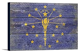Indiana State Flag - Barnwood Painting (18x12 Gallery Wrapped Stretched Canvas)
