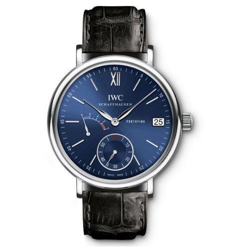 iwc-45-mm-nero-pelle-uomo-band-acciaio-caso-cristallo-zaffiro-blu-automatico-quadrante-analogico-oro