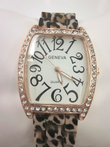 Women'S Geneva Watch Leopard Print Silicone Rubber With Cz Crystal