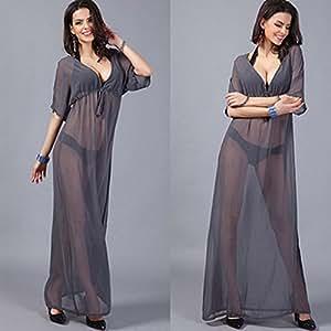 Amazon.com : Women Sexy Dress V Neck Beach Cover Dress Vestido Longo