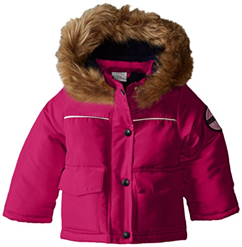 US Polo Association Baby-Girls Pongee Polyfill Jacket with Faux Fur Hood Trim, Pink Rose, 18 Months