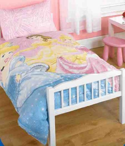 Childrens/Kids Girls Disney Princess Junior Bed Quilt/Duvet Cover Bedding Set (Junior Bed) (Pink)