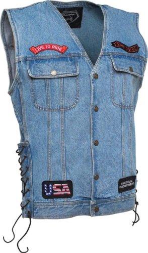 Denim Motorcycle Vest (Size XXXL) - Buy Denim Motorcycle Vest (Size XXXL) - Purchase Denim Motorcycle Vest (Size XXXL) (Simple, Simple Vests, Simple Mens Vests, Apparel, Departments, Men, Outerwear, Mens Outerwear, Vests, Mens Vests)